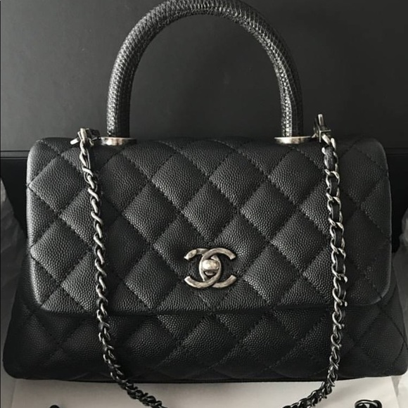 2980782f883a73 CHANEL Bags | Small Coco Handle Bag With Lizard Handle | Poshmark